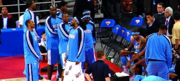 Denver Nuggets players during an NBA preseason game against the Indiana Pacers.
