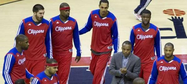 The Los Angeles Clippers Practicing before a game.