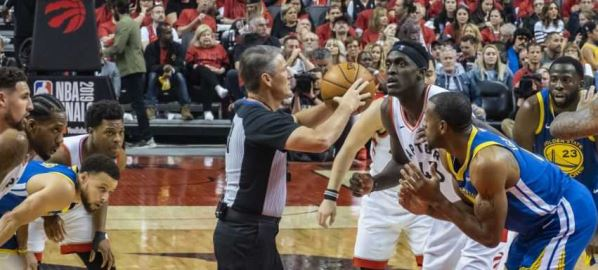 Pascal Siakam going for a jump ball at Game 2 of the 2019 NBA Finals.