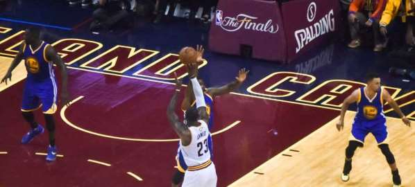 Lebron shooting over Warrior defender in the 2016 NBA Finals, broadcast by ABC.
