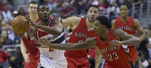 Toronto Raptors defending Washington Wizards player on 04/26/15.